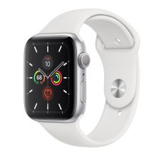 Apple Watch 5 GPS 44mm Silver Aluminum Case With White Sport Band